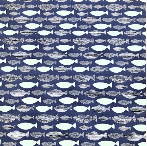 Ottoman Fische blau-weiß Ripsbindung