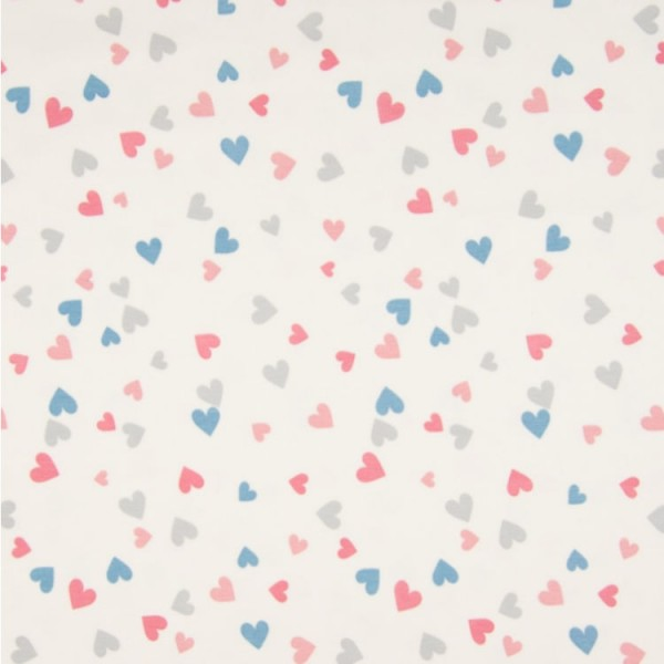 Jersey Herzen rosa pink + blau grau auf weiß