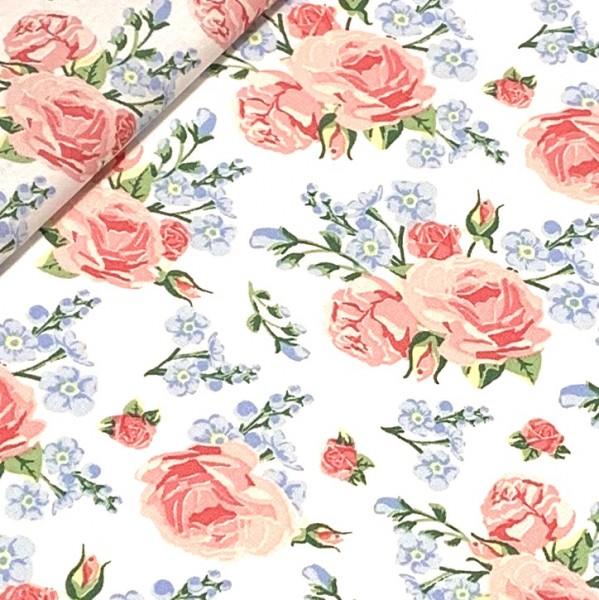 Rosen und Blumen auf weiß 100%BW Oeko-Tex