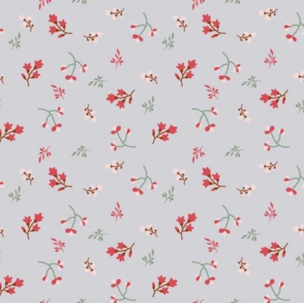 Jersey Blumen und Zweige grau