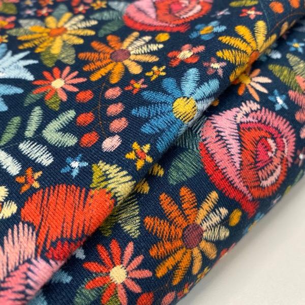 Jersey Rosen und Blumen dunkelblau Digitaldruck Stickoptik