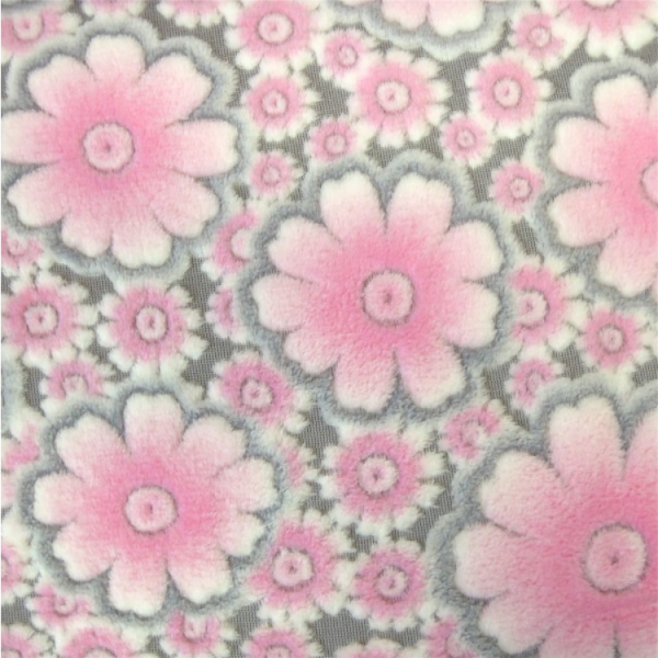 Micro-Fleece Blumen grau-rosa Wellness-Fleece