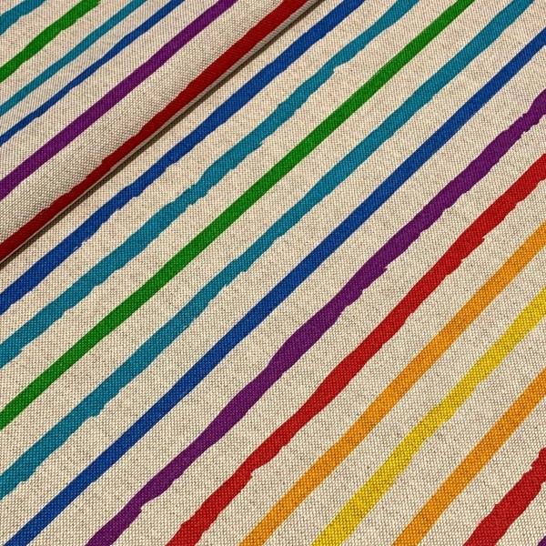 Dekostoff Regenbogen-Streifen auf natur