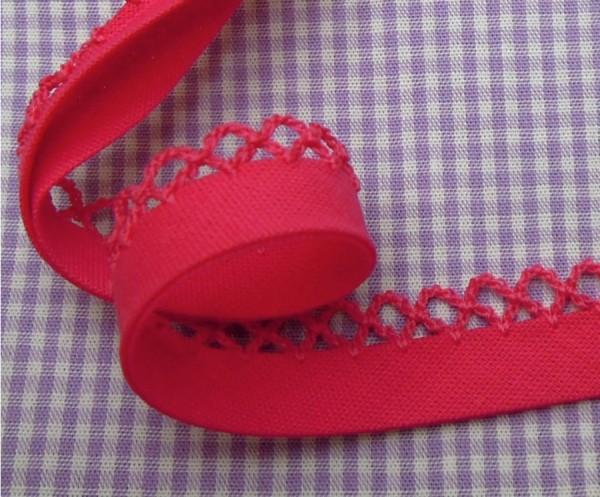 5m Schrägband uni mit Häkelborte pink (35)