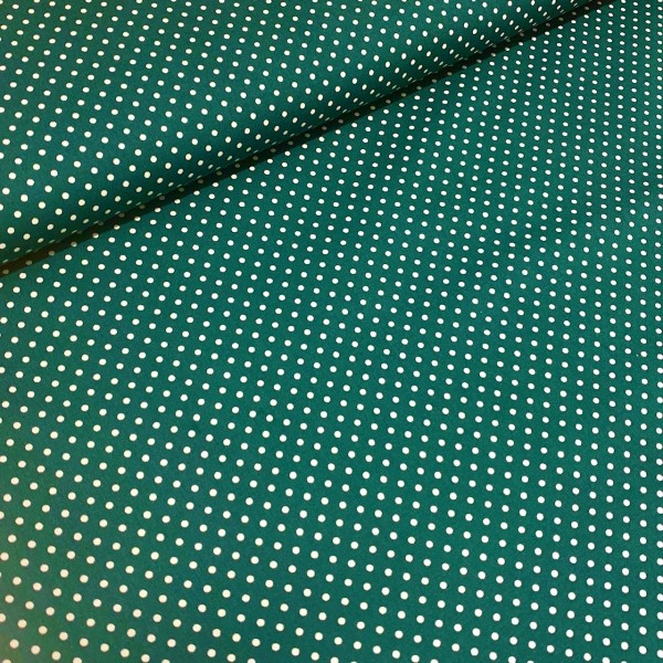 Punkte klein tannengrün-weiß 100% BW