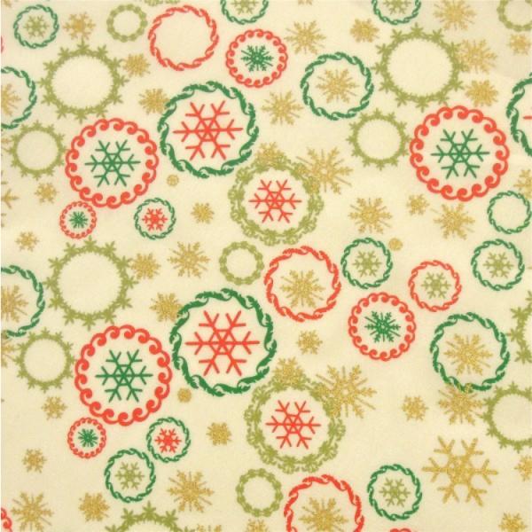 Weihnachtsstoff Schneeflocken wollweiß-rot-grün-gold