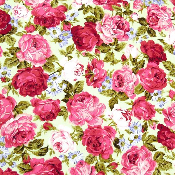Baumwollwebware Rosen Teerosen pink & rosa