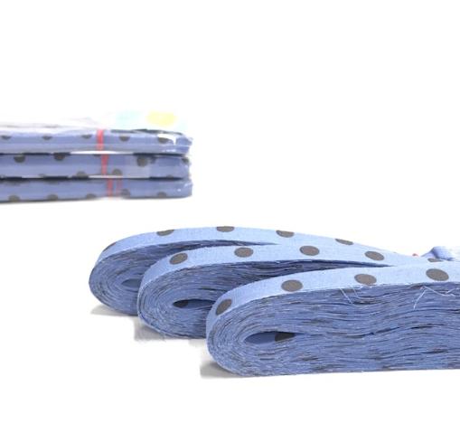 RosaliNum BW-Bändchengarn blau mit grauen Punkten