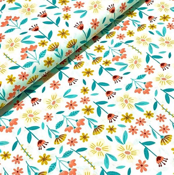 Blumenwiese hellblau 100%BW Oeko-Tex