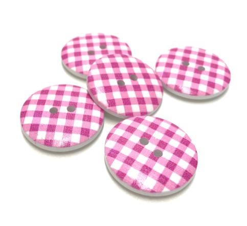 runde Holzknöpfe 5 Stk. in rosa-weiß kariert 23mm