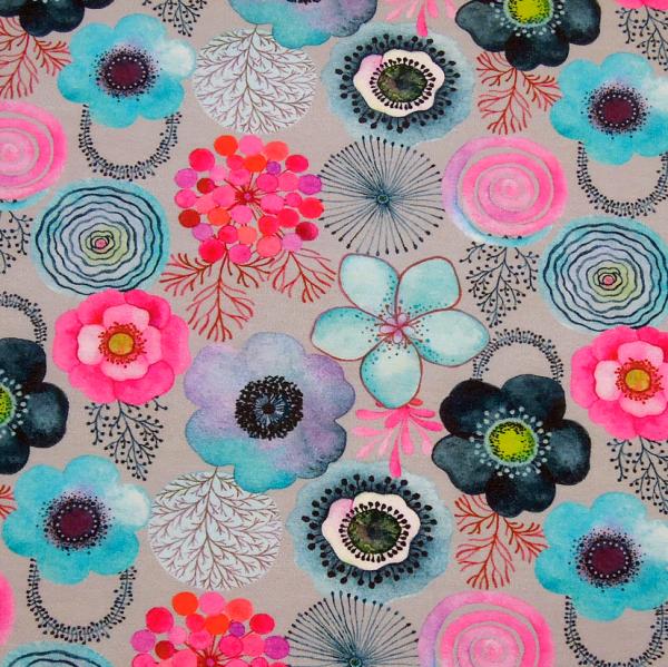 Jersey Blüten grau-aqua-pink Digitaldruck