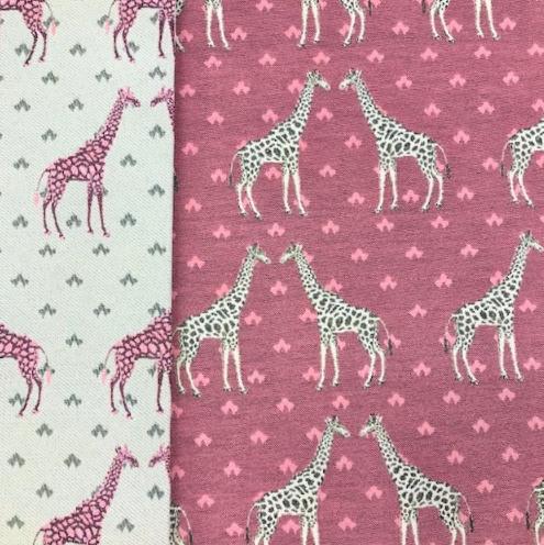 Gobeline Doubleface Giraffen auf rosa-beere
