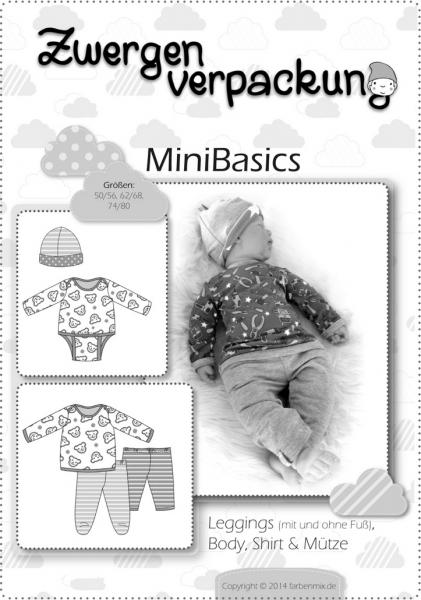 Papierschnittmuster MiniBasics: Body, Shirt, Leggings & Mütze, Schnittmuster Zwergenverpackung