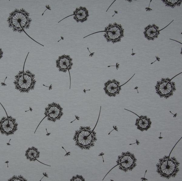 Jersey Pusteblume grau - schwarz Motivgröße ca. 8cm