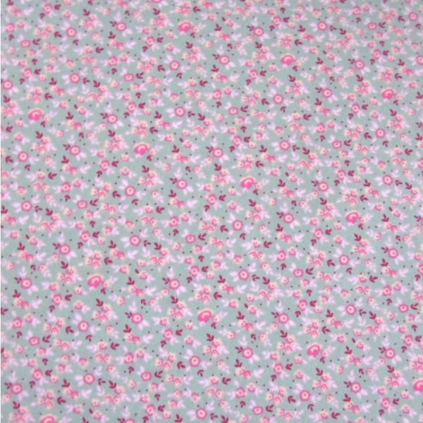 Baumwolle Streublümchen grau-rosa