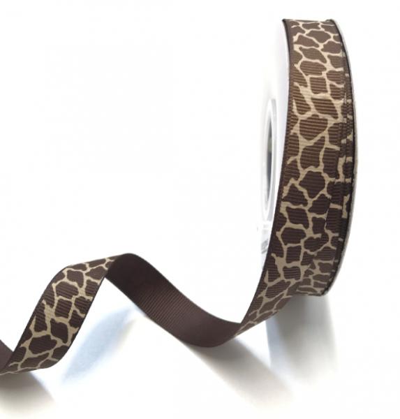 Ripsband gefleckt braun-beige, 15mm