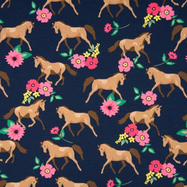 Jersey Horses & Flowers Pferde und Blumen dunkelblau-gelb-koralle Motivgröße ca. 9cm