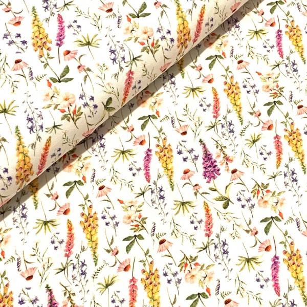 Jersey Blumen und Gräser auf weiß