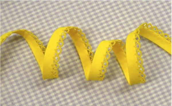 5m Schrägband uni mit Häkelborte zitronengelb (5)