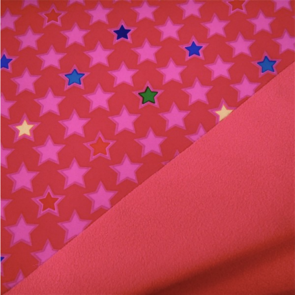Softshell Sterne rot-pink bunt - Fleece-Rückseite in rot