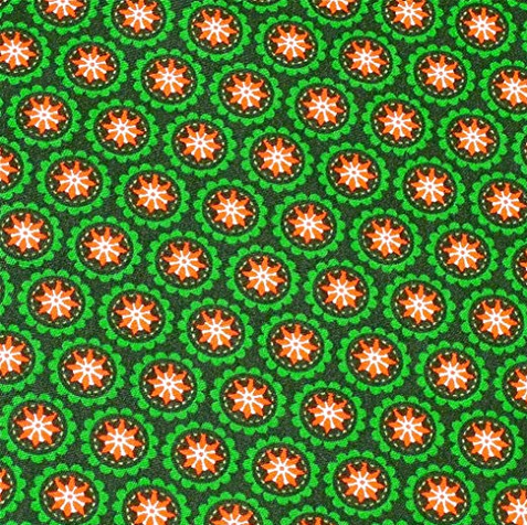 Stoff Sternblume dunkelgrün-orange