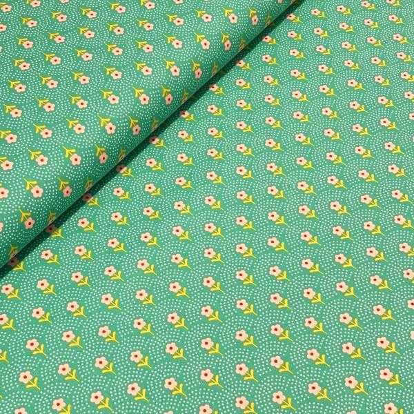 Blume mit Pünktchen-Bogen mint-grün 100%BW Oeko-Tex