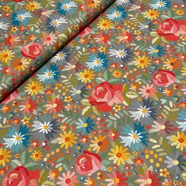 Rosen und Blumen auf grau Stickoptik 100% BW