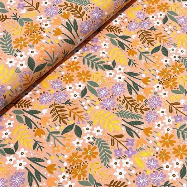 Blumen und Blätter auf apricot 100%BW Oeko-Tex