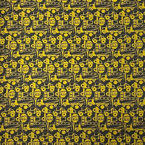 French Terry Baustelle Anthrazit-gelb Motivgröße: ca. 7cm