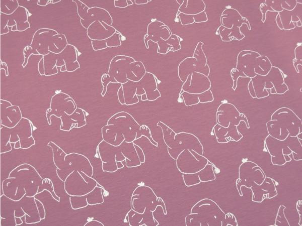 Jersey Elefanten beere rosa Motivgröße ca. 10cm