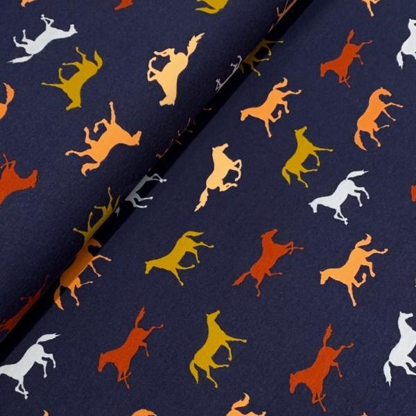 Jersey bunte Pferde auf dunkelblau GOTS