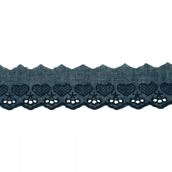 """Stickerei-Spitzenborte """"Herz"""", 5cm, marineblau(47)"""