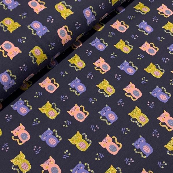 Jersey Glitzer-Katzen dunkelblau