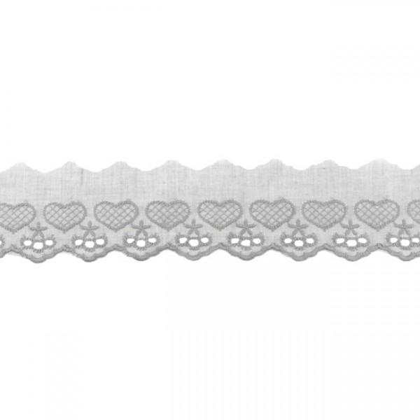 """Stickerei-Spitzenborte """"Herz"""", 5cm, grau(57)"""
