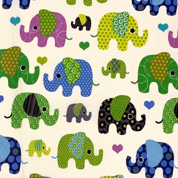 Bunte Elefanten groß auf wollweiß 100%BW