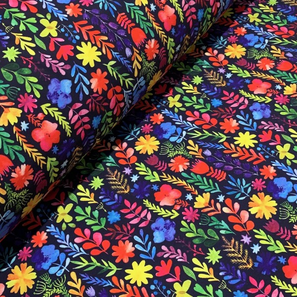 Softshell bunte Blumen auf dunkelblau