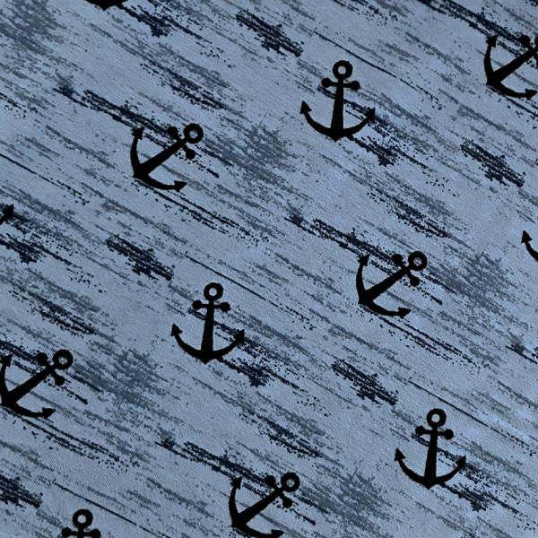 Jersey große Anker auf mittelblau/ grau-blau - melange