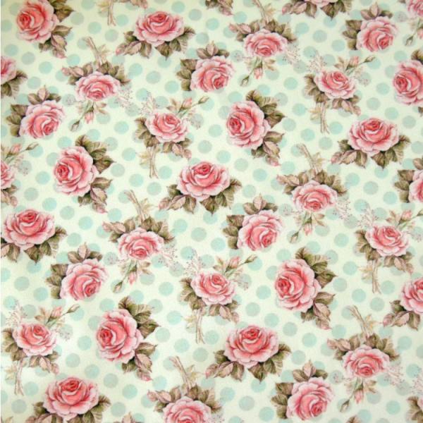 Stoff Vintage Rosen auf Punkten