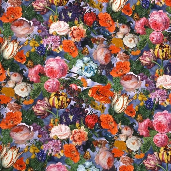 Jersey Flowers auf blau Digitaldruck
