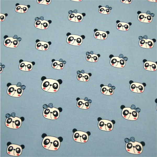 Jersey Panda Kopf mit Schleife hellblau