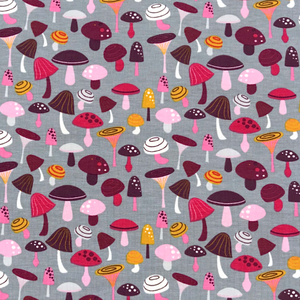 Jersey Pilze grau/ rosa