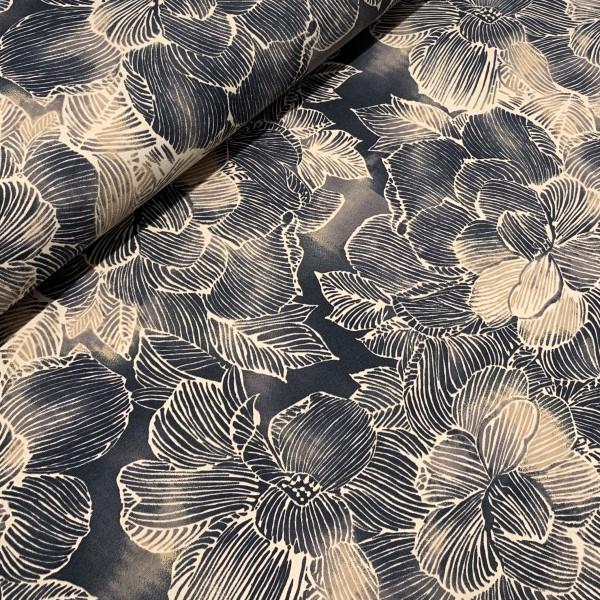 Jersey Große Blume beige-anthrazit Digitaldruck Oeko-Tex