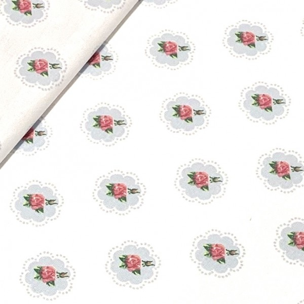Kleine Rosen auf weiß 100%BW Oeko-Tex