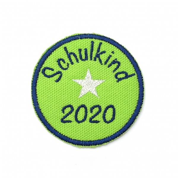 Schulkind 2020 rund in Grün Bügel-Applikation