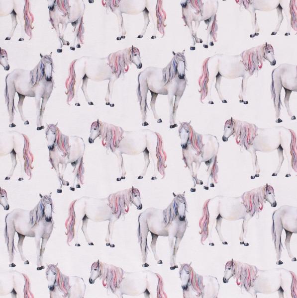 Jersey Zauber-Pferde mit rosa Mähne auf weiß digital