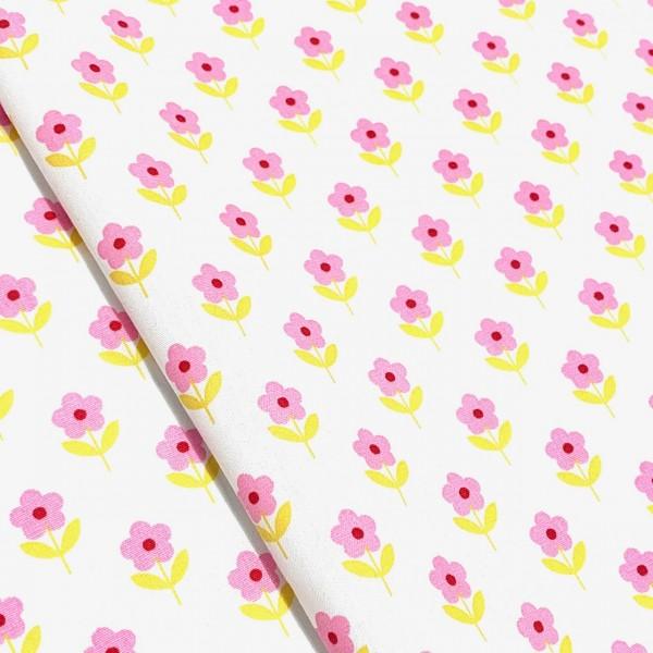 Rosa Blume auf weiß 100%BW Oeko-Tex