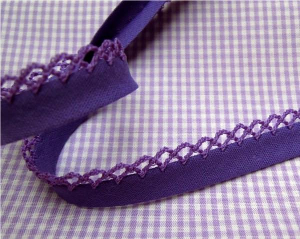 5m Schrägband uni mit Häkelborte violett (353)