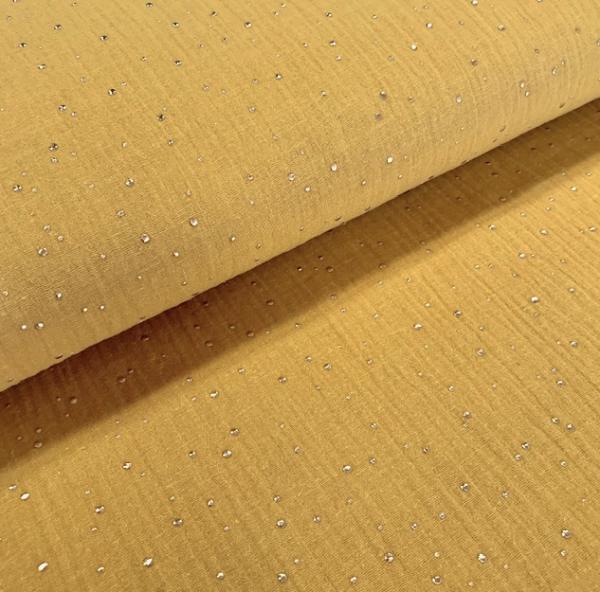 Musselin gold Kleckse senf senfgelb