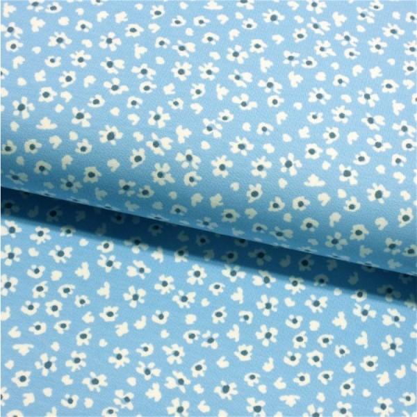Jersey Streublümchen Blumen hellblau