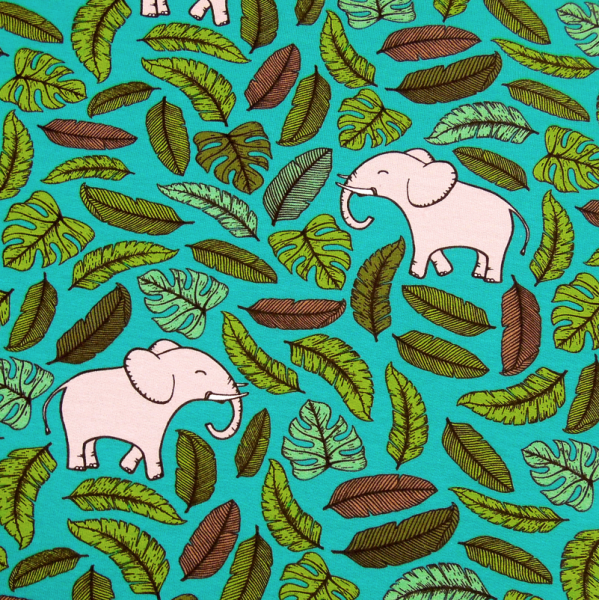 French-Terry Elefanten und Blätter auf türkis